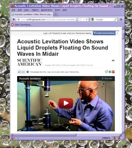 Argonne Labs acoustic levitation video