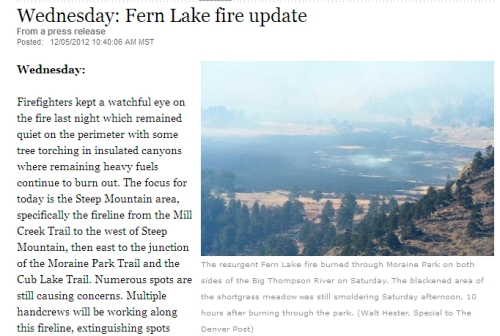 Screen shot from the Loveland (Colorado, USA) Reporter Herald with image of a smoldering Moraine Park.