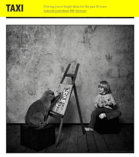 "Russian photographer Andy Prokh has captured adorable photos of his daughter Catherine who grew up with their gray British Shorthair cat. From the website ""Design Taxi."""