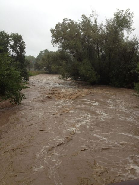 Bear Creek in Boulder, Colorado, USA, pushed more than 10 times past its normal limits due to flooding in Boulder County in September 2013.