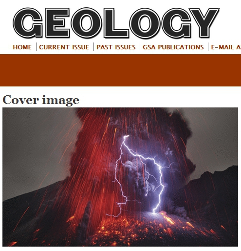 "A volcanic plume generates an impressive lightning bolt at Sakurajima volcano, Japan. Self-electrification of ash particles and charge distribution within the plume are controlling factors for volcanic lightning generation. See ""Experimental generation of volcanic lightning"" by Cimarelli et al., Geology, Jan. 2014, p. 79–82. Photo by Martin Rietze."
